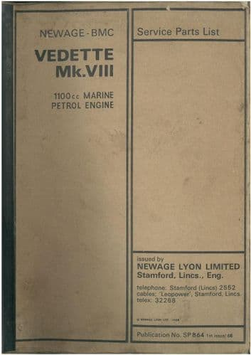 Newage BMC Vedette Mk.VIII 1100cc Marine Engine Parts Manual
