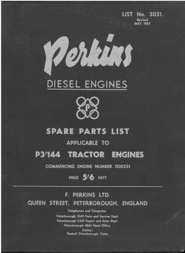 Perkins Diesel Engine P3.144 Parts Manual - Engine as fitted in a P3.144 Tractor