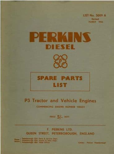 Perkins Diesel P3 Tractor & Vehicle Engine Parts Manual - From Engine No 100251