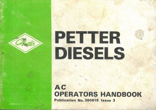 Petter Diesel Engine AC Operators Manual with Parts List - AC