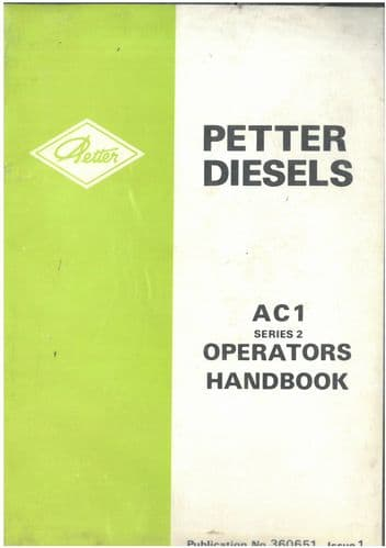 Petter Diesel Engine AC1 Operators Manual with Parts List