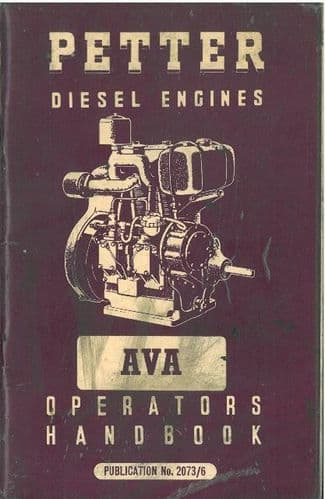 Petter Diesel Engines AVA Operator Manual With Parts List