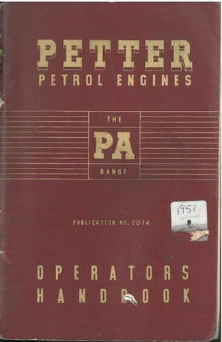 Petter Engines PA Range Operators Manual With Parts List - - PA1 PA2 PA1W PA2W PA1K PA2K PA1WK PA2WK