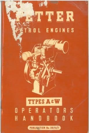 Petter Petrol Engine A & W Operators Manual with Parts List