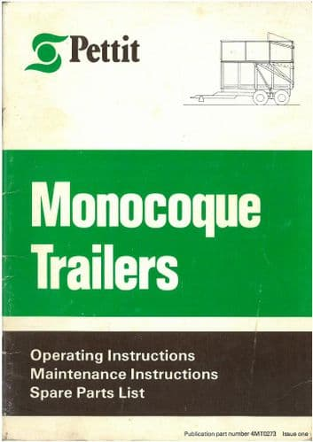 Pettit Monocoque Trailers - Models 6, 8, 10, 11.5 Operators Manual with Parts List