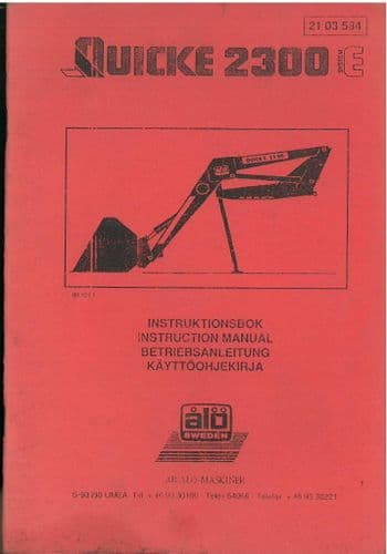 Quicke Loader 2300 E Operators Manual with Parts List