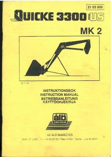 Quicke Loader Q3300 Mk2 Operators Manual with Parts List - Q 3300