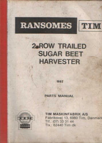 Ransomes 2 Row Trailed Sugar Beet Harvester Parts Manual