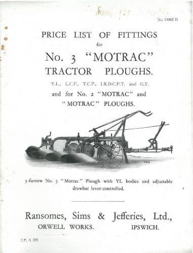 Ransomes 3A & 2 Motrac Tractor Plough Operators Manual with Parts List