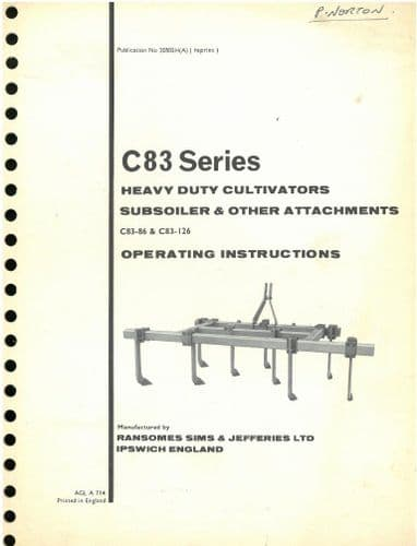 Ransomes C83 Heavy Duty Cultivator C83-86 & C83-126 Operators Manual and Parts List