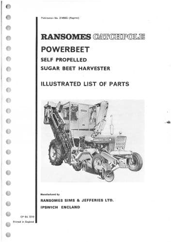 Ransomes Catchpole Sugar Beet Harvester Parts Manual