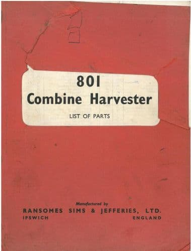 Ransomes Combine 801 Parts Manual