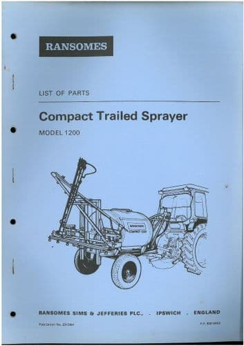 Ransomes Compact Trailed Sprayer - Model 1200 Parts Manual