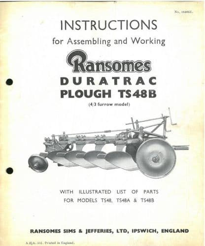 Ransomes Duratrac TS48B Trailed Plough Operating Manual with Illustrated Parts List - TS48 B