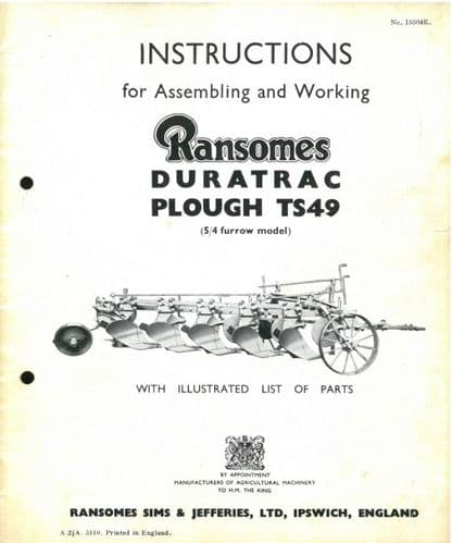 Ransomes Duratrac TS49 Trailed Plough Operating Manual with Illustrated Parts List
