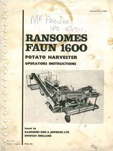 Ransomes Faun 1600 Series Potato Harvester Operators Manual