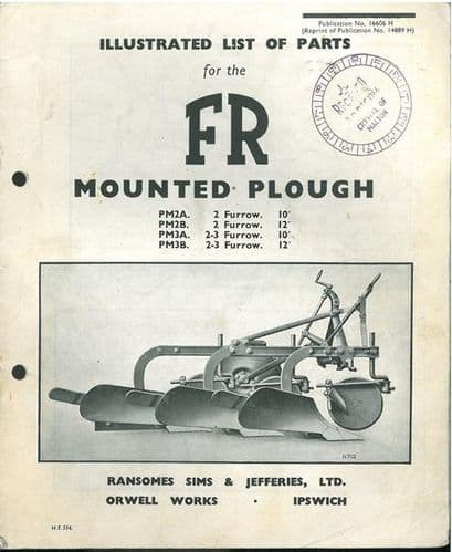 Ransomes FR Mounted Plough PM2A PM2B PM3A PM3B Parts Manual