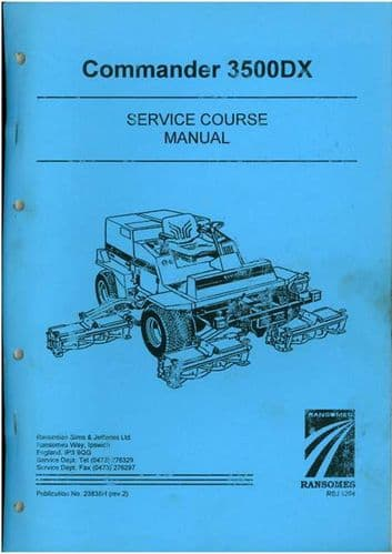 Ransomes Grass Cutting Machine Commander 3500DX Service Course Manual