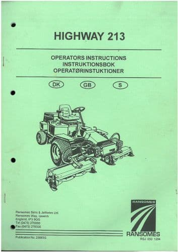 Ransomes Grass Cutting Machine Highway 213 Operators Manual