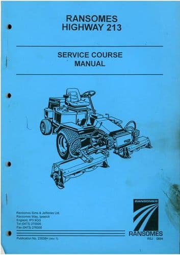 Ransomes Grass Cutting Machine Highway 213 Service Course Manual