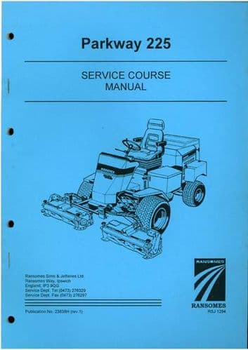 Ransomes Grass Cutting Machine Parkway 225 Service Course Manual