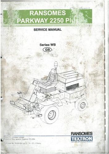 Ransomes Grass Cutting Machine Parkway 2250 Plus Workshop Service Training Manual