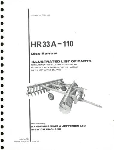 Ransomes HR33A-110 Disc Harrows Parts Manual