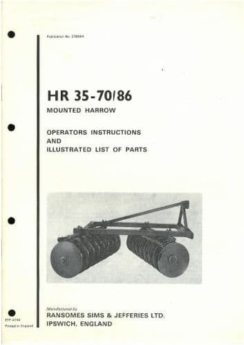 Ransomes HR35 - 70-86 Disc Harrows Operators Manual with Parts List