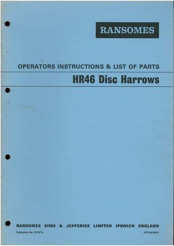 Ransomes HR46 Disc Harrows Operators Manual with Parts List