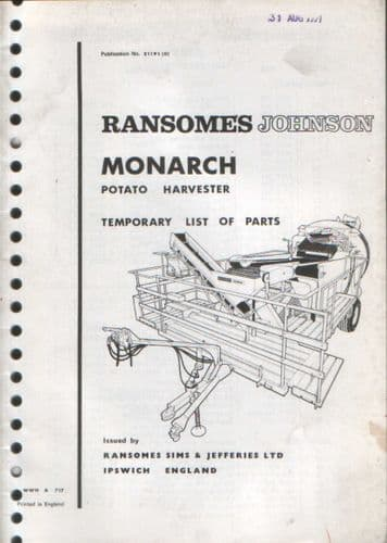 Ransomes Johnson Monarch Potato Harvester Parts Manual