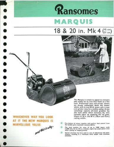 Ransomes Lawn Mower Marquis 18 & 20 in Mk 4 Brochure
