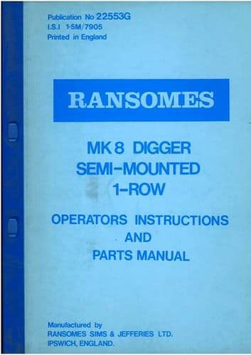 Ransomes MK8 Digger Semi-Mounted 1-Row Operators Manual with Part List