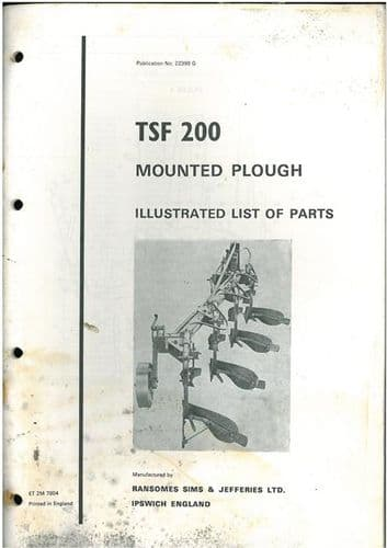 Ransomes Mounted Plough TSF200 Parts Manual