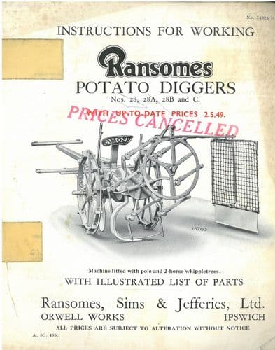 Ransomes Potato Digger No 28 28A 28B & C Operators Manual with Parts List