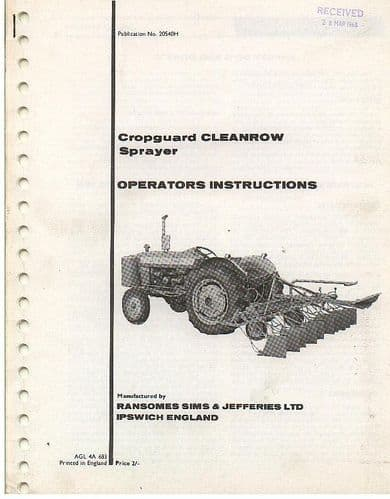 Ransomes Sprayer Cropguard Cleanrow Operators Manual with Parts List