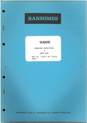 Ransomes Sprayer - Hawk Operators Manual with Parts List