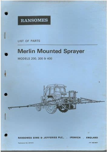 Ransomes Sprayer Merlin Mounted - Models 200 300 & 400 Parts Manual