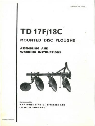 Ransomes TD17F and TD18C Mounted Disc Plough Operators Manual with Parts List