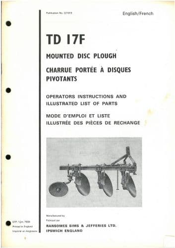 Ransomes TD17F Mounted Disc Plough Operators Manual with Parts List