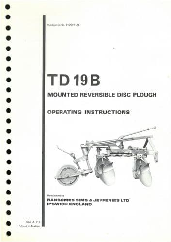 Ransomes TD19B Mounted Reversible Disc Plough Operators Manual with Parts List