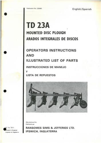 Ransomes TD23A Mounted Disc Plough Operators Manual with Parts List