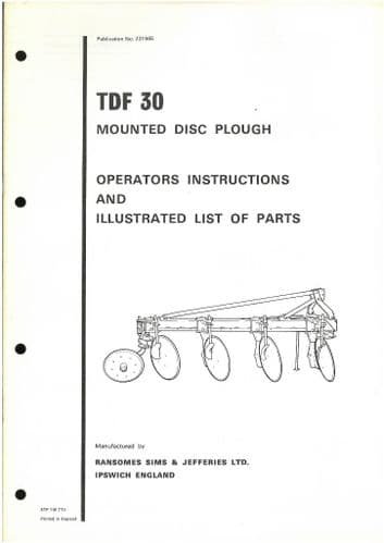 Ransomes TDF30 Mounted Disc Plough Operators Manual with Parts List - TDF 30
