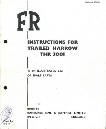 Ransomes Trailed Harrow THR3001 Operators Manual with Parts List - THR 3001