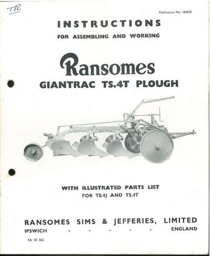 Ransomes TS4T Giantrac Plough Operators Manual with Parts List