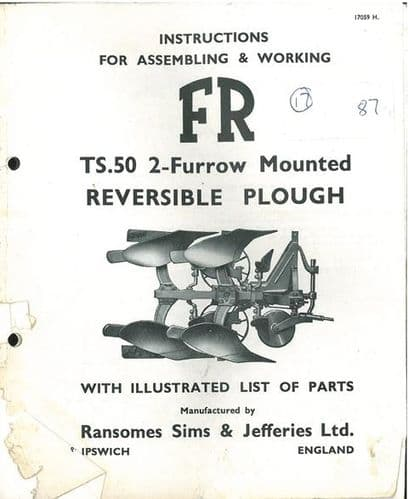 Ransomes TS50 Mounted Reversible Plough Operators Manual with Parts List