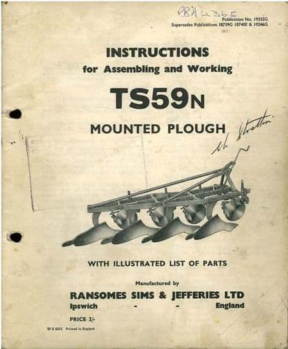 Ransomes TS59N Plough Operators Instructions Manual with Parts List