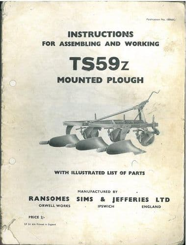 Ransomes TS59Z Mounted Plough Operators Manual with Parts List