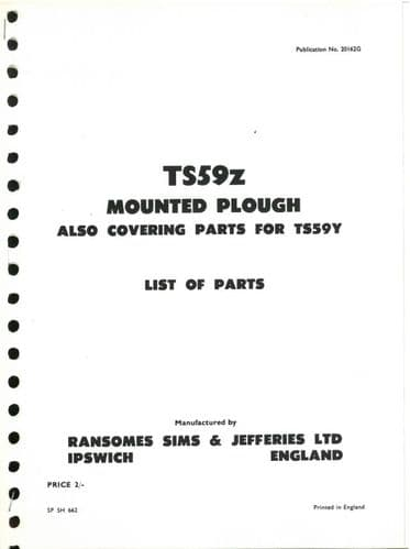 Ransomes TS59Z Mounted Plough Parts Manual - also covering parts for TS59Y