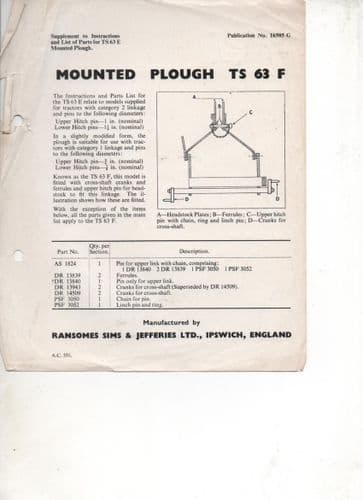 Ransomes TS63F Mounted Plough Supplement to Instructions & Parts List for TS63E Mted Plough Leaflet