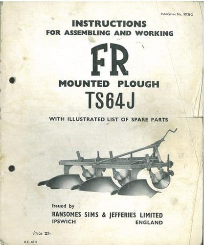 Ransomes TS64J FR Mounted Plough Operators Manual with Parts List